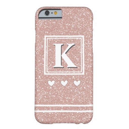 Custom Monogram Chic Rose Gold Glitter Modern Girl Barely There iPhone 6 Case