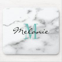 Custom monogram chic white marble stone mouse pad