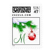 Custom Monogram Christmas Ornament Postage Stamp