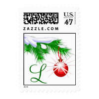 Custom Monogram Christmas Ornament Postage Stamp