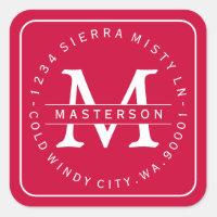 Custom Monogram Christmas Return Address Label II