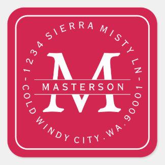Custom Monogram Christmas Return Address Label II Square Sticker