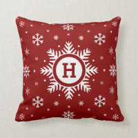 Custom Monogram Christmas Snowflake pillow