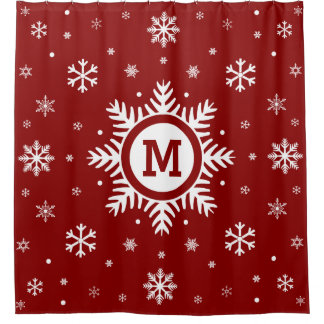Custom Monogram Christmas Winter Snowflake Shower Curtain