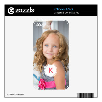 Custom Monogram Circle Personalized Photo Template iPhone 4S Decal