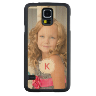 Custom Monogram Circle Personalized Photo Template Carved® Maple Galaxy S5 Slim Case