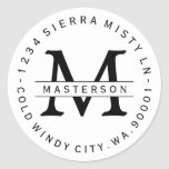 """Custom Monogram Circular Return Address Label<br><div class=""""desc"""">Customize with your Monogram. Circular Return Address Label. All text is customizable.  Please contact me with any questions or special requests.    Inverse Black and White now Available</div>"""