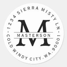 Custom Monogram Circular Return Address Label at Zazzle