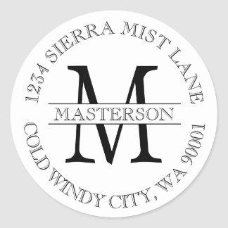Custom Monogram Circular Return Address Label Classic Round Sticker