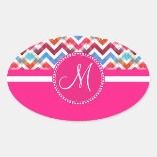 Custom Monogram Colorful Chevron Stripes Zig Zags Oval Sticker