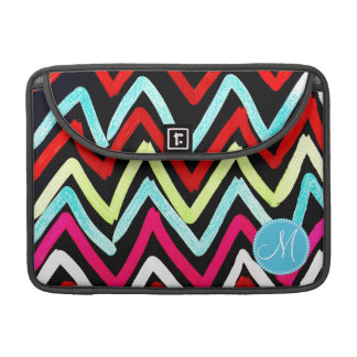 Custom Monogram Colorful Chevron Tribal Zigzags Sleeves For MacBook Pro