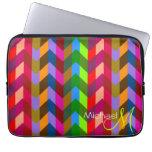 Custom Monogram Colorful Chevron Zigzag Laptop Sleeves
