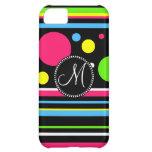 Custom Monogram Colorful Neon Stripes Polka Dots Case For iPhone 5C