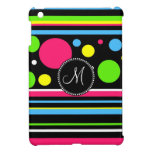 Custom Monogram Colorful Neon Stripes Polka Dots iPad Mini Case