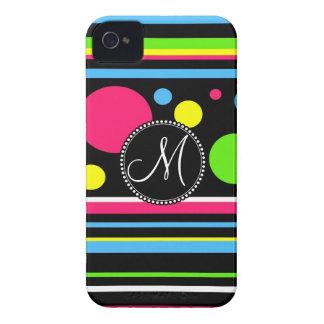 Custom Monogram Colorful Neon Stripes Polka Dots iPhone 4 Case