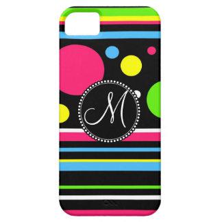 Custom Monogram Colorful Neon Stripes Polka Dots iPhone SE/5/5s Case