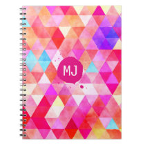 Custom Monogram Colorful Pink Red Triangle Pattern Notebook