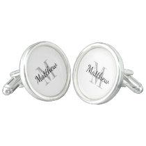 Custom monogram cufflinks for groom & groomsmen
