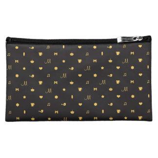 Custom Monogram Cute Icon Pattern Cosmetic Bag