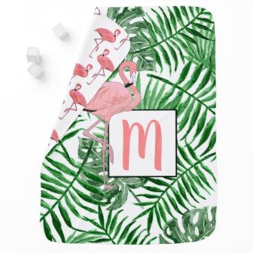 Beach Themed Custom Monogram Cute Pink Flamingo Watercolor Baby Blanket