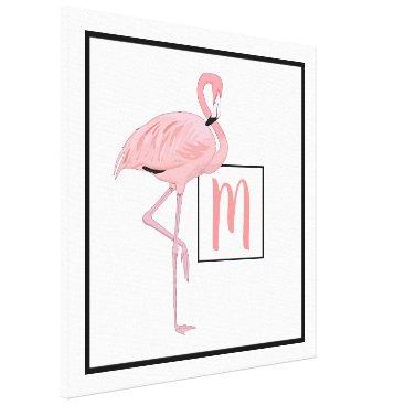 Hawaiian Themed Custom Monogram Cute Pink Flamingo Watercolor Canvas Print