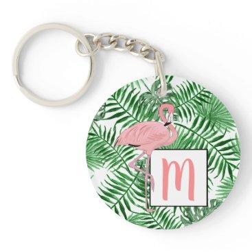Beach Themed Custom Monogram Cute Pink Flamingo Watercolor Keychain