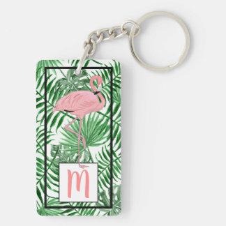 Custom Monogram Cute Pink Flamingo Watercolor Keychain