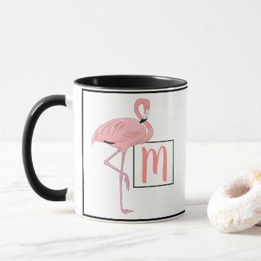 Hawaiian Themed Custom Monogram Cute Pink Flamingo Watercolor Mug