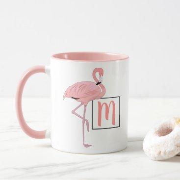 Beach Themed Custom Monogram Cute Pink Flamingo Watercolor Mug
