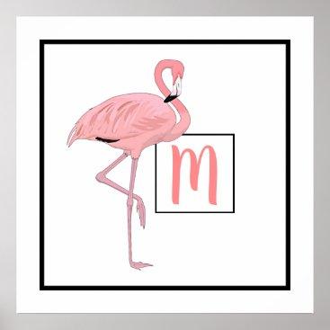 Beach Themed Custom Monogram Cute Pink Flamingo Watercolor Poster