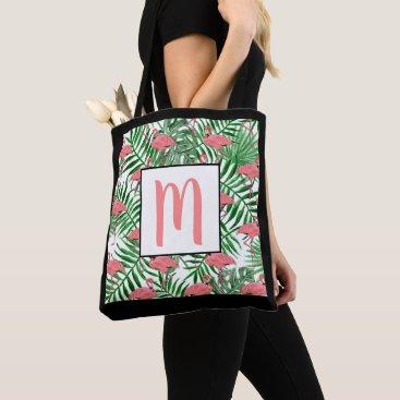 Beach Themed Custom Monogram Cute Pink Flamingo Watercolor Tote Bag