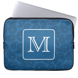 Custom Monogram. Dark Blue Paisley Pattern. Computer Sleeve