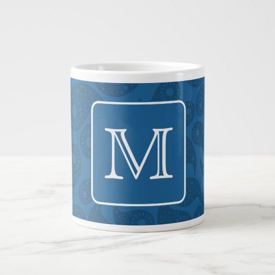 Custom Monogram. Dark Blue Paisley Pattern. Large Coffee Mug