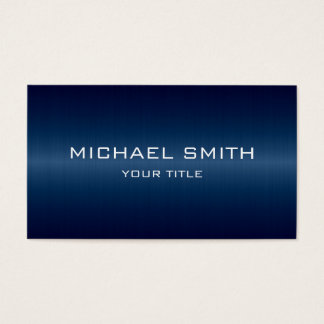 Custom Monogram Dark Blue Stainless Steel Metal Business Card