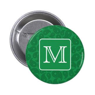 Custom Monogram. Dark Green Paisley Pattern. Pinback Button