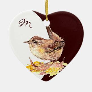 Custom Monogram Dated  Watercolor Wren Bird Ceramic Ornament