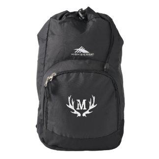 Custom monogram deer antler black hunting backpack
