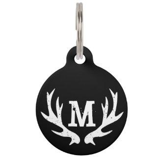 Custom monogram deer antler logo collar pet tag
