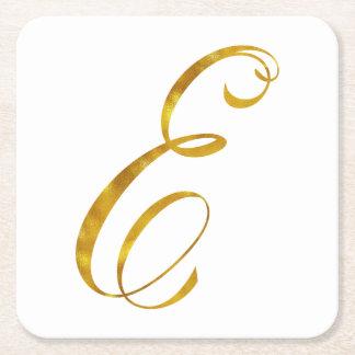 Custom Monogram E Faux Gold Foil Monograms Initial Square Paper Coaster