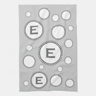 Custom Monogram E or Any Initial SILVER Circles Towel