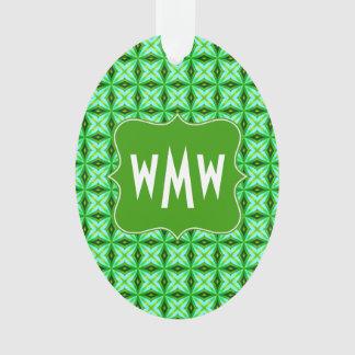 Custom Monogram Elegant Green Abstract Stars Patte Ornament