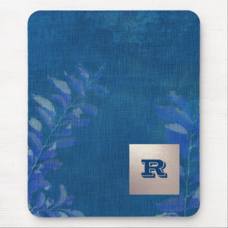 Custom Monogram Elegant Leaf Design Gift Mousepads