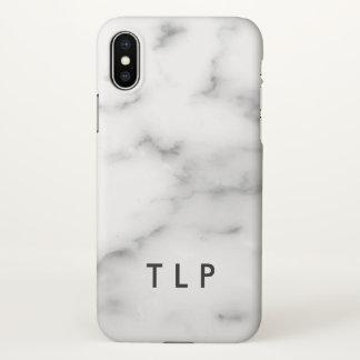 Custom monogram elegant white marble stone iPhone x case