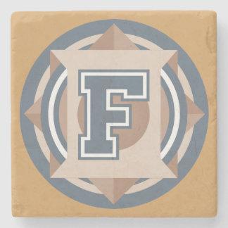 "Custom Monogram ""F"" Initial Stone Coaster"