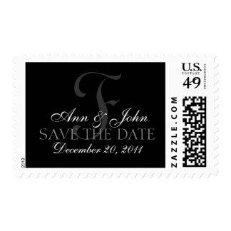 Custom Monogram F Names & Date Wedding Stamp