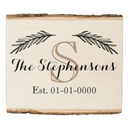 Custom Monogram Family Name Est Wood Photo Sign