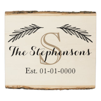 Custom Monogram Family Name Est Wood Photo Sign