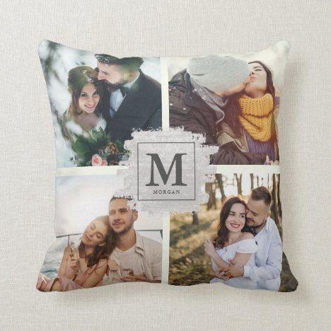 Custom Monogram Family Name Wedding Photo Collage Throw Pillow