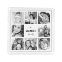 Custom Monogram Family Photo Collage Acrylic Tray