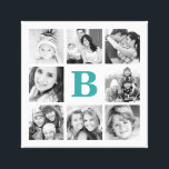 "Custom Monogram Family Photo Collage Canvas<br><div class=""desc"">Custom Canvas Print Wall Art with Personalized Monogram and a Square Collage of 8 Photos Bordering Your Initial. This would make a great gift for family,  friends,  newlywed couples,  parents,  and grandparents!</div>"